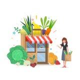Construção de loja local das frutas e legumes com com uma mulher Caixas dos mantimentos na frente da montra ilustração do vetor