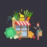 Construção de loja local das frutas e legumes com com uma mulher Caixas dos mantimentos na frente da montra ilustração royalty free
