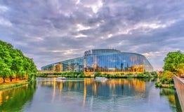 Construção de Louise Weiss do Parlamento Europeu em Strasbourg, França Fotografia de Stock