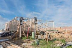 Construção de madeira de quadro home dos fardos da construção nova Fotografia de Stock