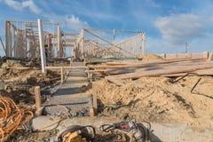 Construção de madeira de quadro home dos fardos da construção nova Fotos de Stock Royalty Free