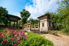 Construção de Phutan em Flora Expo real imagem de stock