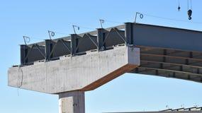 Construção de ponte da estrada em andamento fotografia de stock