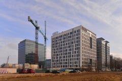 Construção de prédios de escritórios novos em Gdansk, Polônia Fotografia de Stock