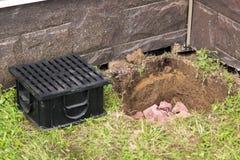 Construção de sistemas de drenagem da água na terra Imagem de Stock