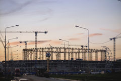 A construção de um estádio de futebol 2018 Imagens de Stock Royalty Free