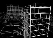 Construção de vários andares do esboço linear arquitetónico no fundo preto Fotos de Stock