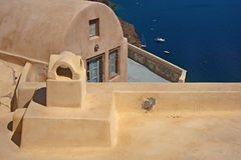 A construção desconhecida de Oia, Santorini Foto de Stock Royalty Free