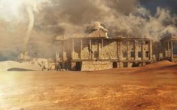 Construção destruída no deserto Foto de Stock
