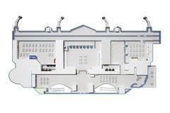 Construção do aeroporto de cima de uma vista sem um telhado ilustração stock