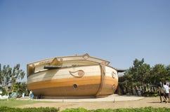 A construção do aquário e decora envia o teste padrão para a visita dos povos e Imagens de Stock