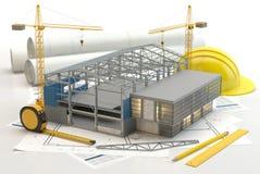 Construção do armazém, ilustração 3D ilustração royalty free