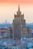 Construção do arranha-céus do Ministério dos Negócios Estrangeiros da Federação Russa em Moscou Foto de Stock
