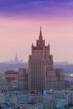 Construção do arranha-céus do Ministério dos Negócios Estrangeiros da Federação Russa em Moscou, vista aérea Imagem de Stock Royalty Free