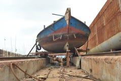 Construção do barco em dhaka bangladesh imagens de stock royalty free
