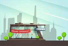 Construção do boutique da forma com desenhos animados dos símbolos da grande inauguração imagens de stock royalty free