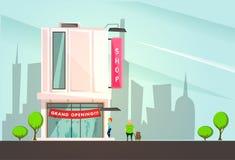 Construção do boutique da forma com desenhos animados dos símbolos da grande inauguração fotos de stock royalty free