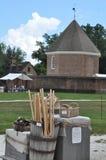 A construção do compartimento em Williamsburg colonial, Virgínia Imagens de Stock