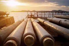 Construção do encanamento do gasóleo da indústria Foto de Stock Royalty Free