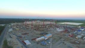 A construção do estádio de futebol para o campeonato 2018 video estoque