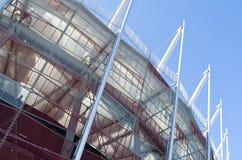 Construção do estádio nacional em Varsóvia, Polônia Fotografia de Stock