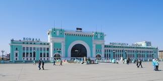 Construção do estação de caminhos-de-ferro, Novosibirsk, Rússia Foto de Stock
