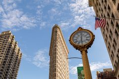A construção do ferro de passar roupa com o 5o pulso de disparo da construção da avenida em Manhattan em New York, NY Fotos de Stock