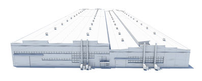 Construção do hangar Fio-quadro branco Fotos de Stock