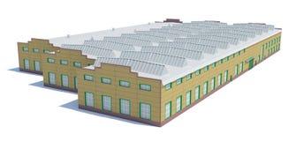 Construção do hangar Isolado no branco Fotos de Stock Royalty Free