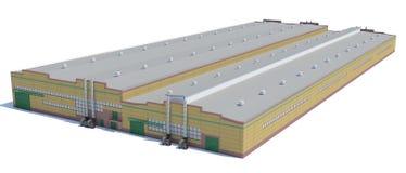 Construção do hangar Isolado no branco Fotografia de Stock Royalty Free