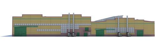 Construção do hangar Isolado no branco Fotografia de Stock