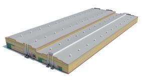 Construção do hangar Isolado no branco Imagem de Stock