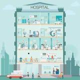 Construção do hospital exterior com doutor e verificação médica paciente Fotos de Stock Royalty Free