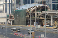 Construção do metro em Dubai Imagem de Stock