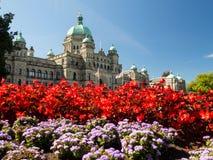 Construção do parlamento do Columbia Britânica na flor completa Fotos de Stock Royalty Free