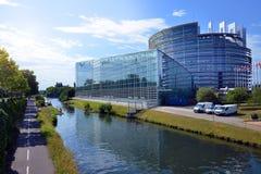 Construção do Parlamento Europeu em Strasbourg, França Imagem de Stock Royalty Free