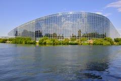 Construção do Parlamento Europeu em Strasbourg, França Fotografia de Stock Royalty Free