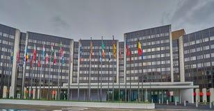 A construção do Parlamento Europeu, Strasbourg, França fotos de stock royalty free