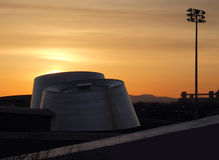 Construção do planetário no nascer do sol Foto de Stock Royalty Free