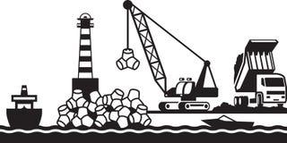 Construção do quebra-mar do porto ilustração do vetor
