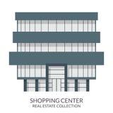 A construção do shopping, bens imobiliários assina dentro o estilo liso Ilustração do vetor Foto de Stock