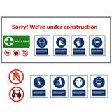 Construção do sinal de aviso Fotos de Stock Royalty Free