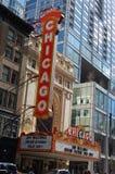 Construção do teatro do marco de Chicago e sinal históricos - Chicago, Illinois EUA Fotografia de Stock