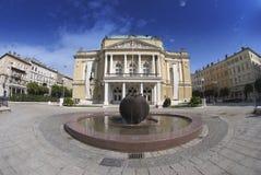 A construção do teatro em Rijeka, Croácia Fotos de Stock Royalty Free