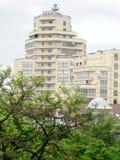 Construção e árvores brancas altas Fotografia de Stock