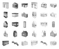 Construção e arquitetura mono, ícones do esboço em coleção ajustada para o projeto O vetor da constru??o e da moradia isom?trico ilustração stock
