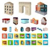 Construção e desenhos animados da arquitetura, ícones lisos em coleção ajustada para o projeto O vetor da construção e da moradia ilustração royalty free