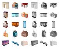 Construção e desenhos animados da arquitetura, mono ícones em coleção ajustada para o projeto O vetor da construção e da moradia  ilustração stock