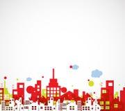 Construção e ilustração da cidade dos bens imobiliários abstraia o fundo ilustração royalty free