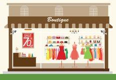 Construção e interior de loja da roupa com os produtos em prateleiras Ilustração Stock